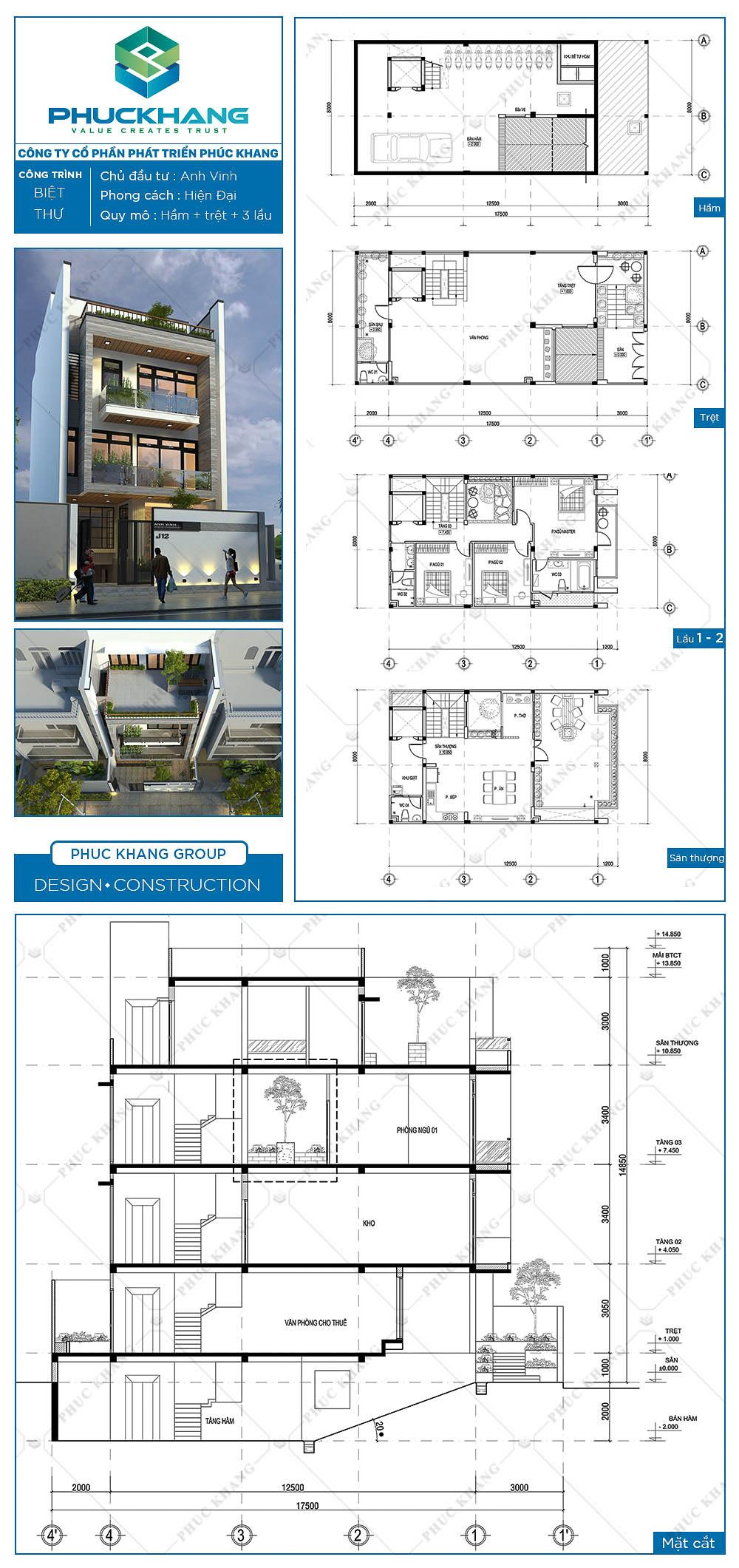 thiết kế biệt thự 5 tầng (8x17)m 5 tầng