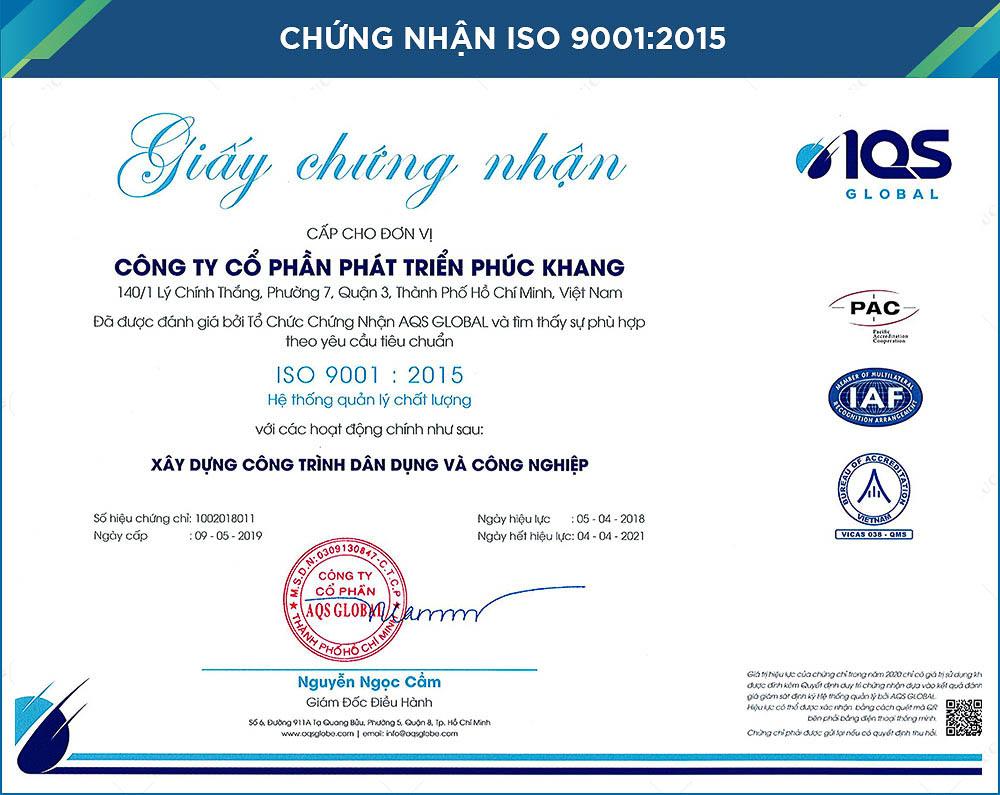 chứng nhận iso 9001:2015 công ty xây dựng