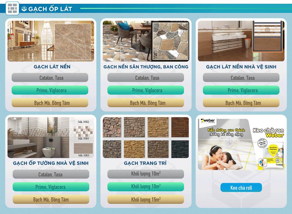 gạch ốp lát giá vật liệu hoàn thiện xây nhà trọn gói