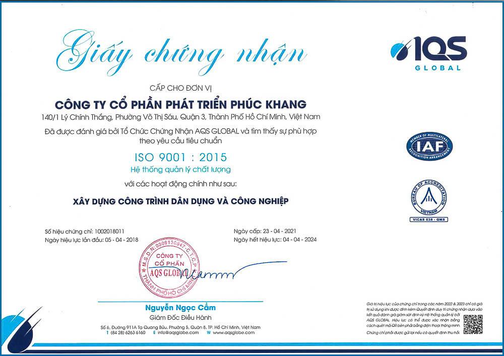 chứng nhận iso 9001:2015 Phuc Khang Group