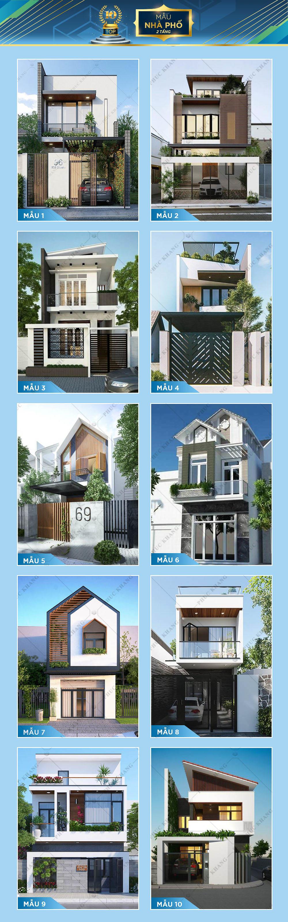 top 10 mẫu nhà phố 2 tầng đẹp