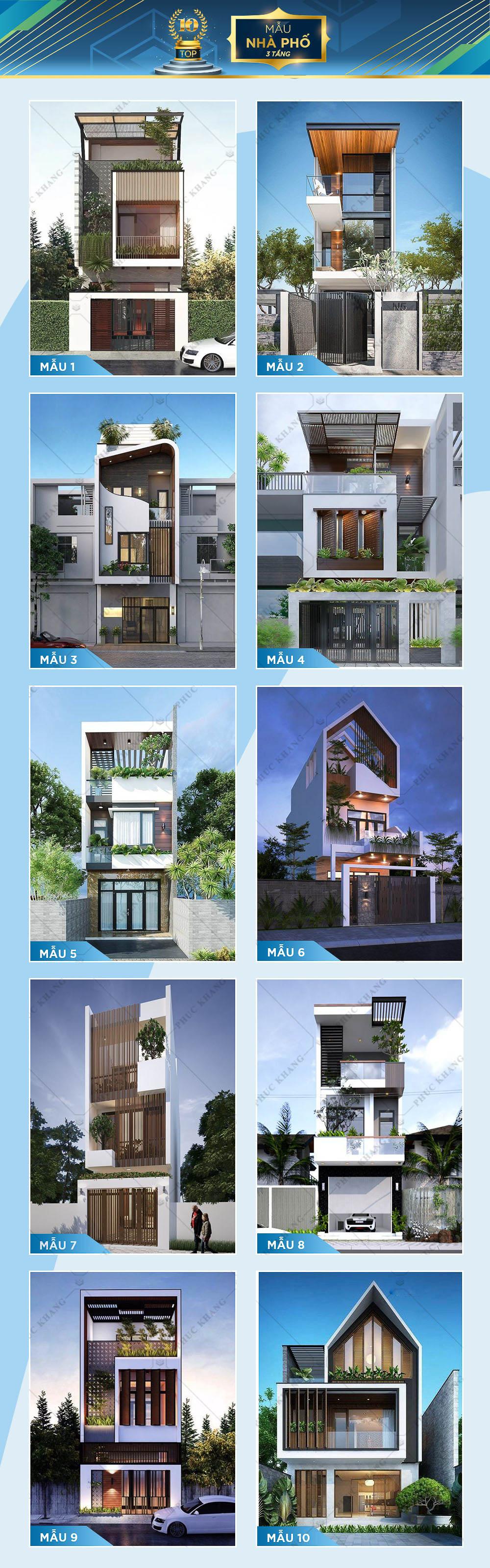 top 10 mẫu thiết kế nhà phố 3 tầng đẹp