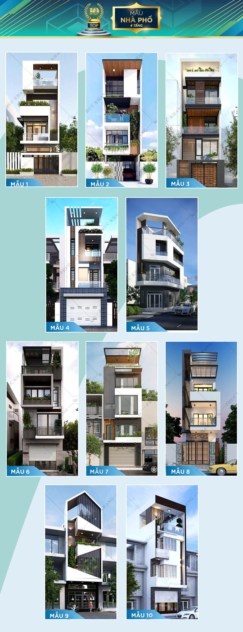 top 10 mẫu nhà phố 4 tầng đẹp