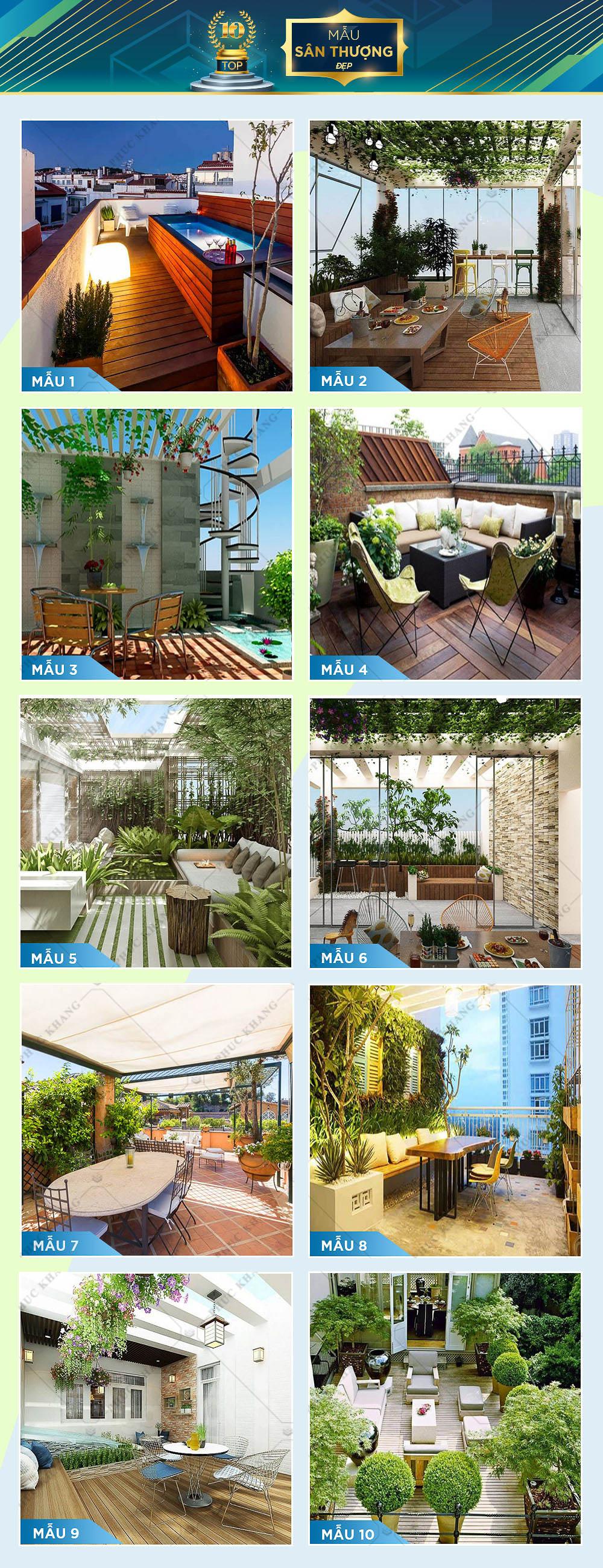 top 10 mẫu sân thượng nhà phố đẹp