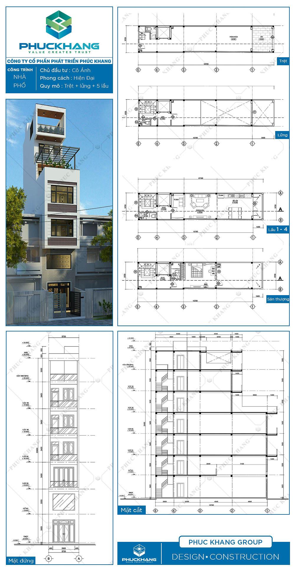thiết kế nhà phố (3.7x18)m 7 tầng