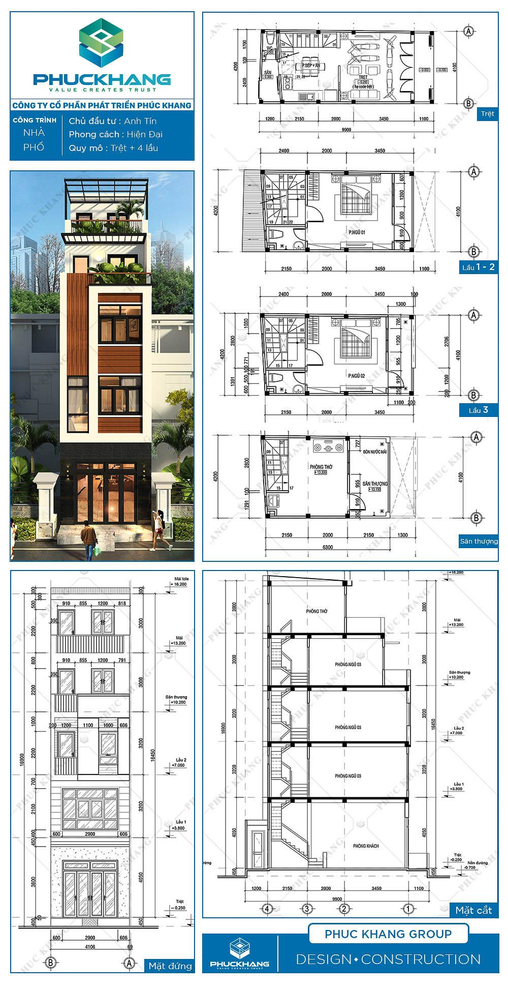 nhà phố (4.2x10)m 5 tầng