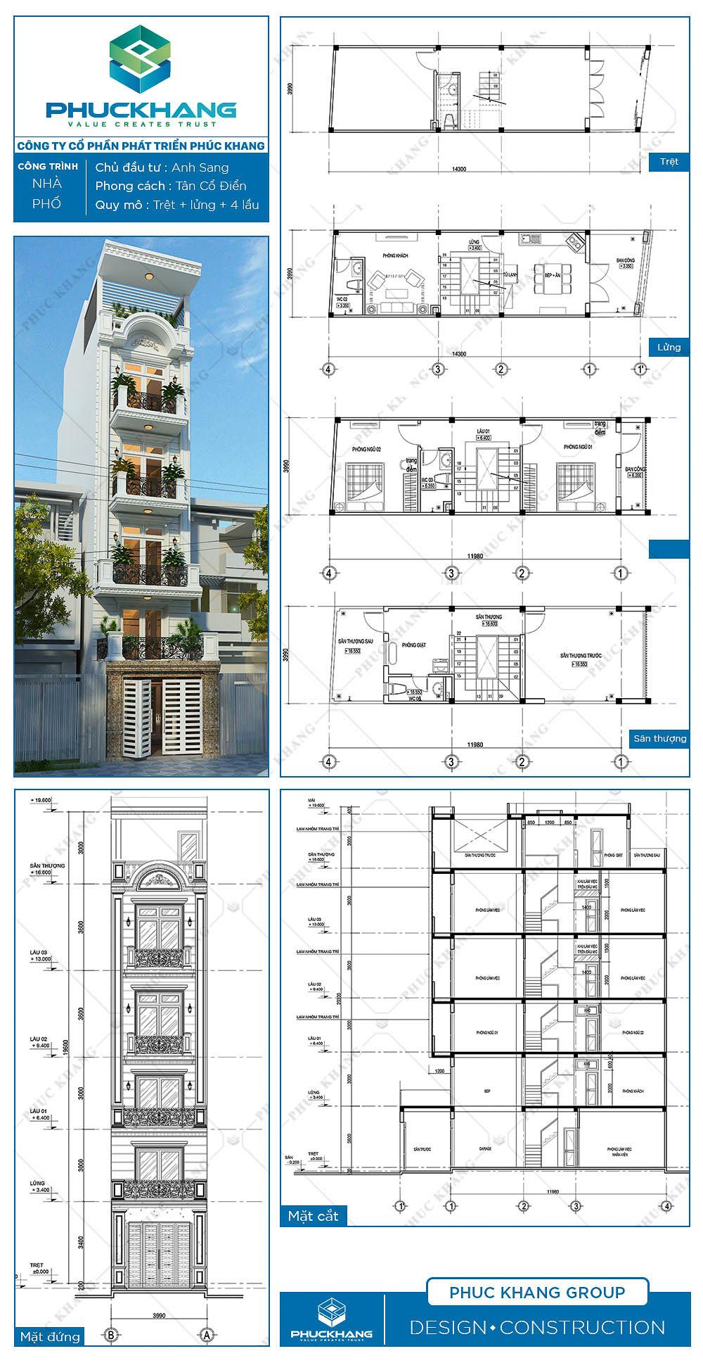 thiết kế nhà phố (4x14.5)m 6 tầng