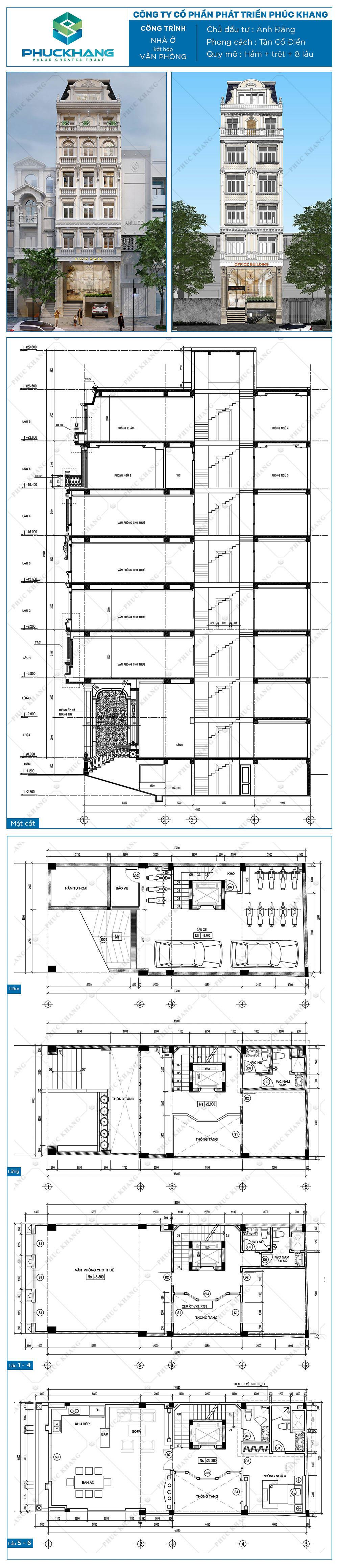 tòa nhà văn phòng (7x18)m 10 tầng