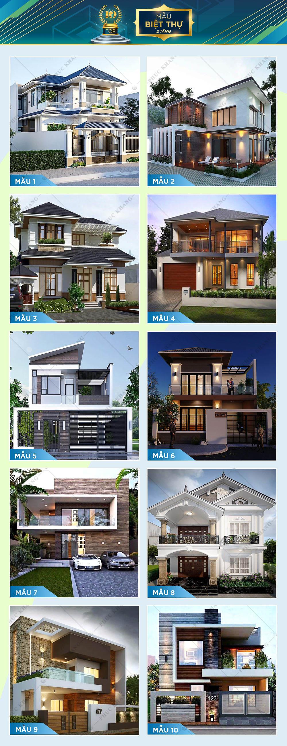 top 10 mẫu thiết kế biệt thự 2 tầng đẹp