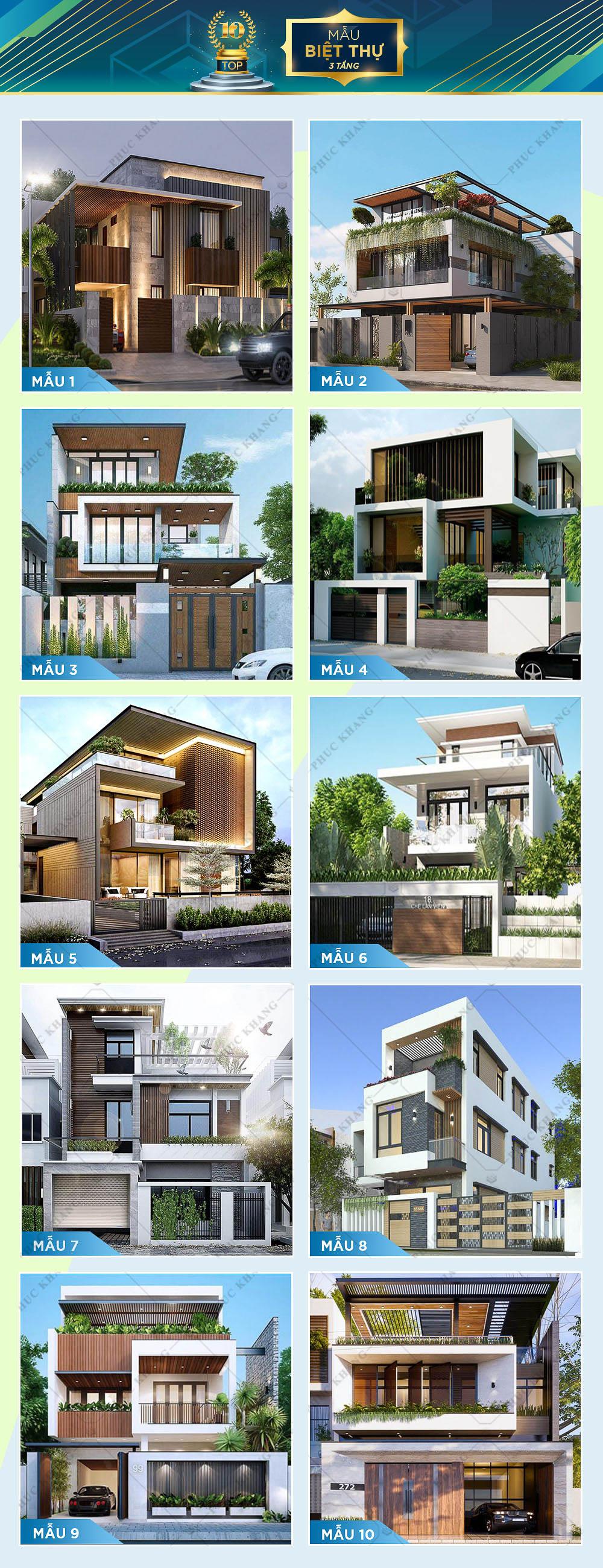 top 10 mẫu thiết kế biệt thự 3 tầng đẹp