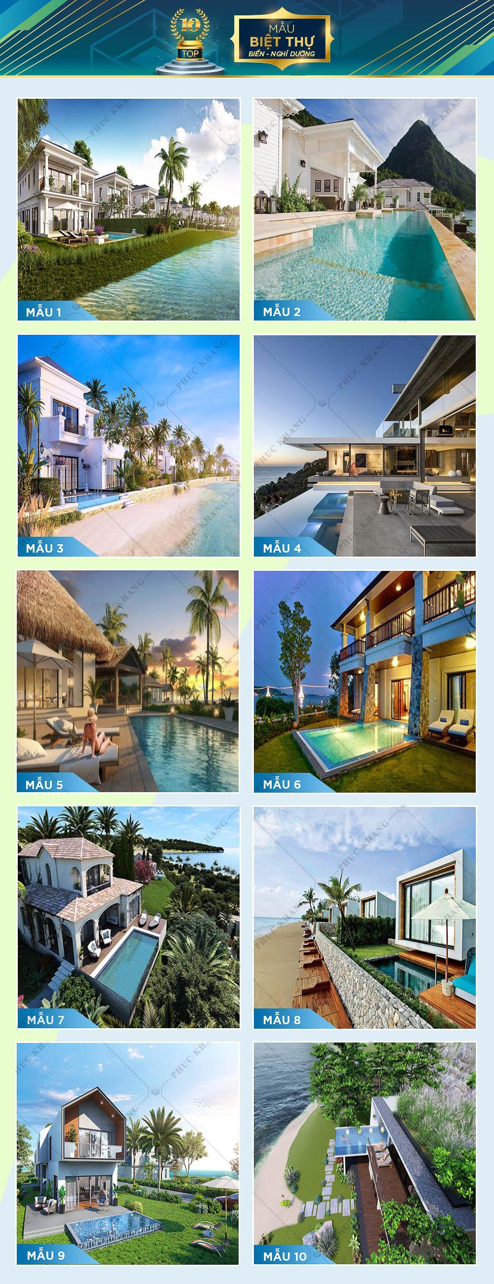 top 10 mẫu thiết kế biệt thự biển nghỉ dưỡng đẹp