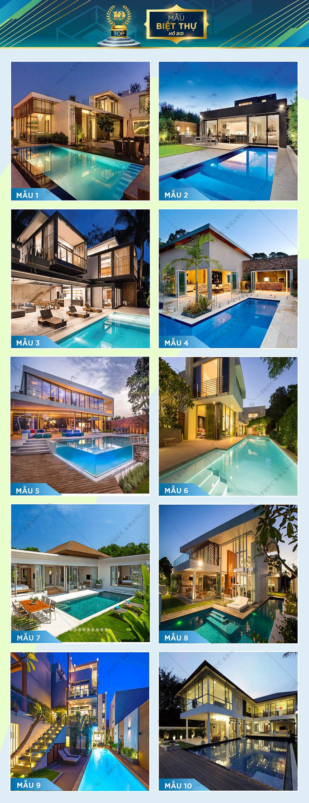 top 10 mẫu thiết kế biệt thự hồ bơi đẹp