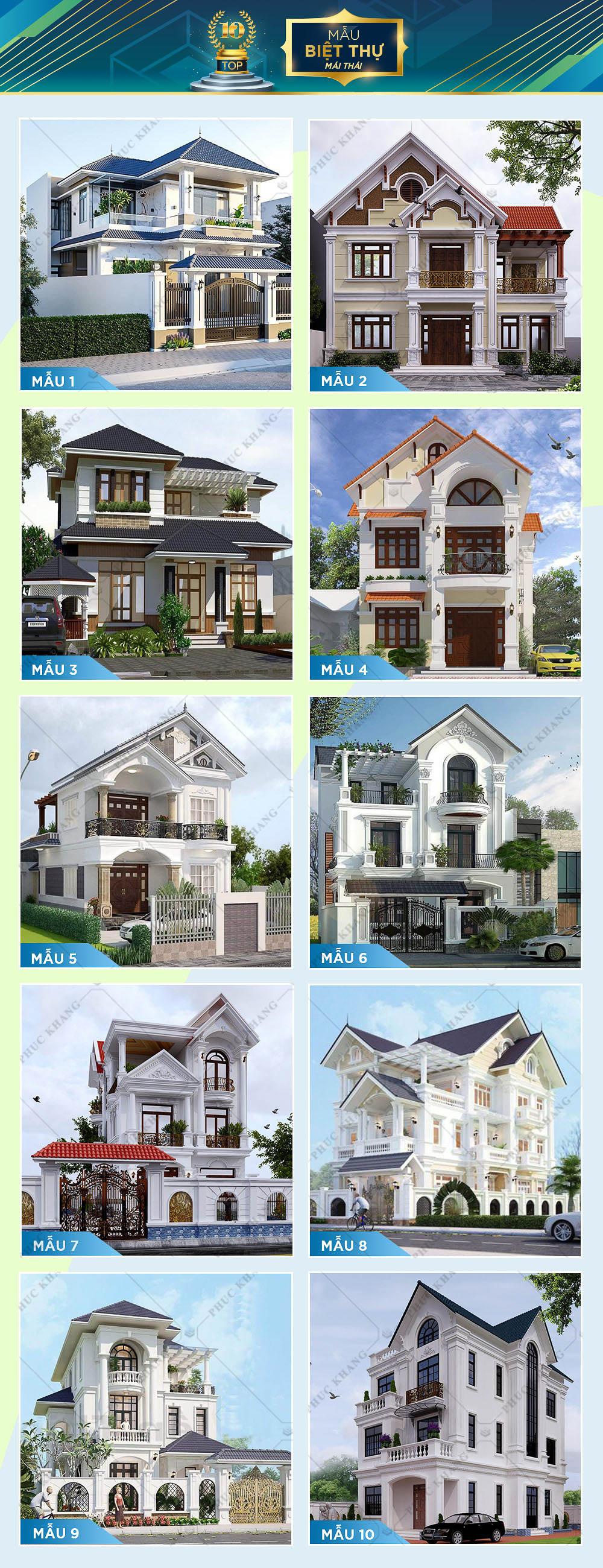 top 10 mẫu thiết kế biệt thự mái thái đẹp