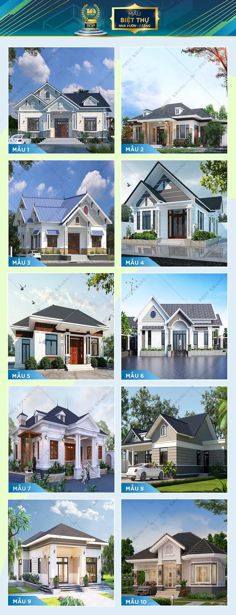 top 10 mẫu thiết kế biệt thự nhà vườn 1 tầng đẹp
