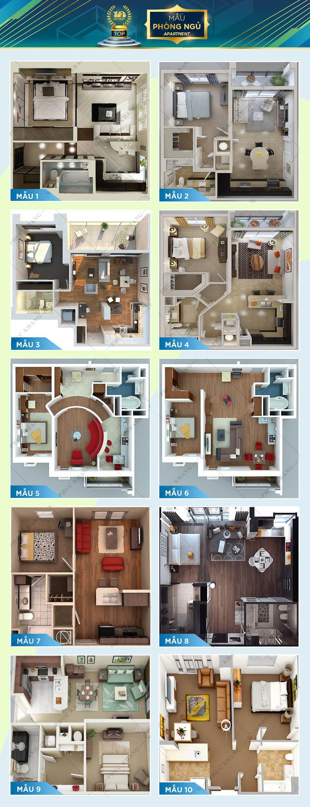 mẫu apartment 1 phòng ngủ