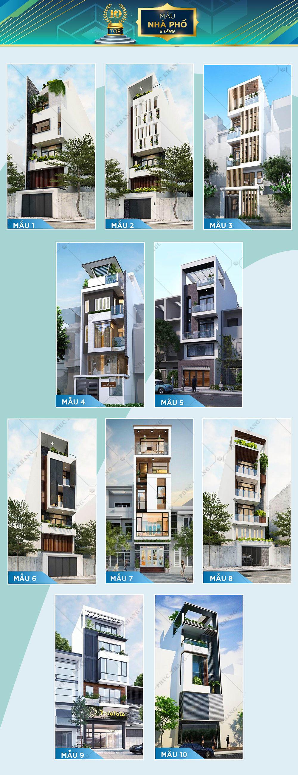 top 10 mẫu thiết kế nhà phố 5 tầng đẹp