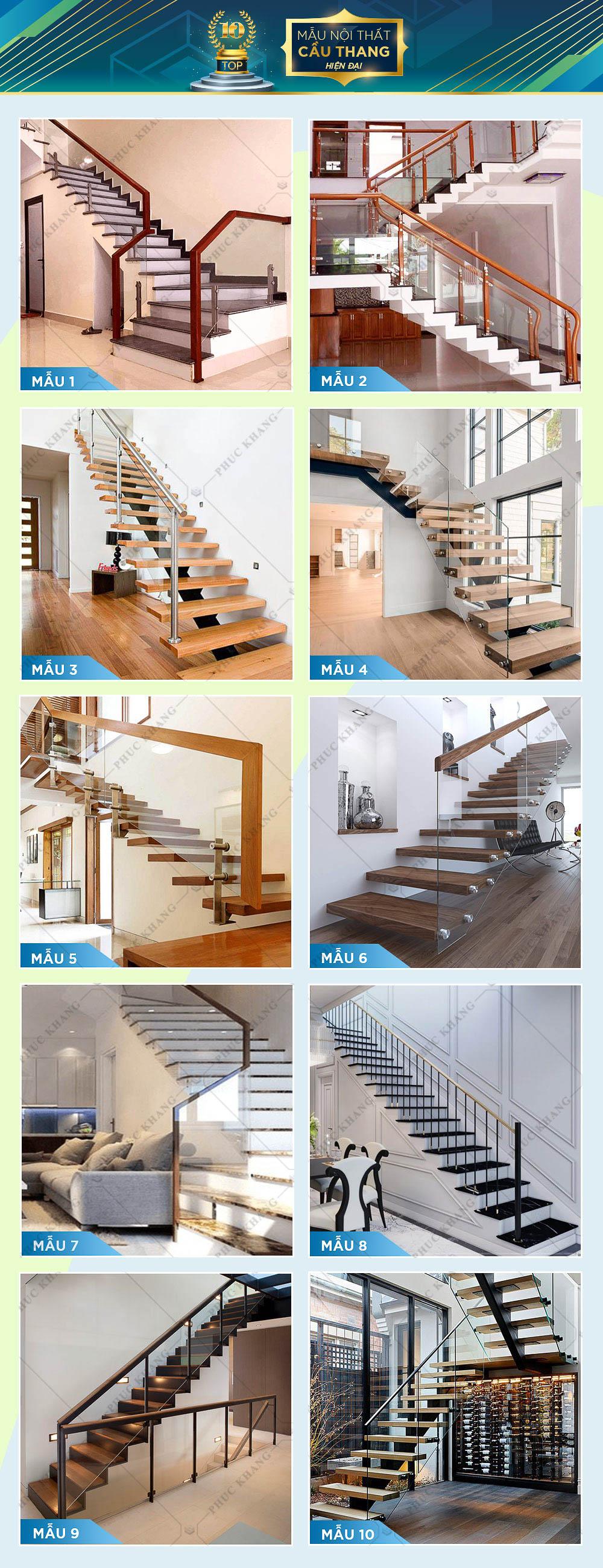 mẫu nội thất cầu thang hiện đại đẹp