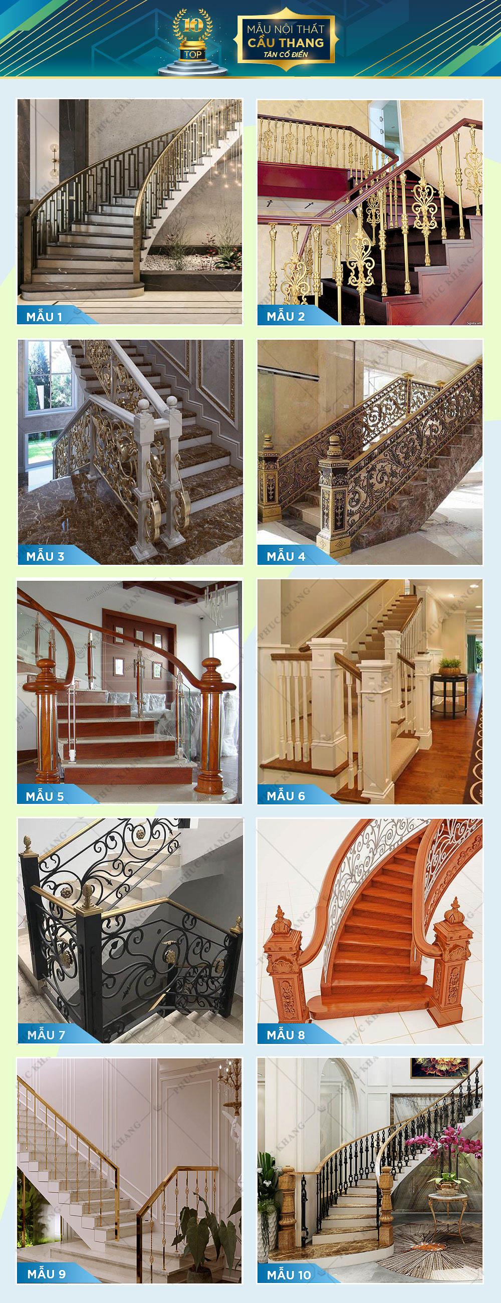 mẫu nội thất cầu thang tân cổ điển đẹp
