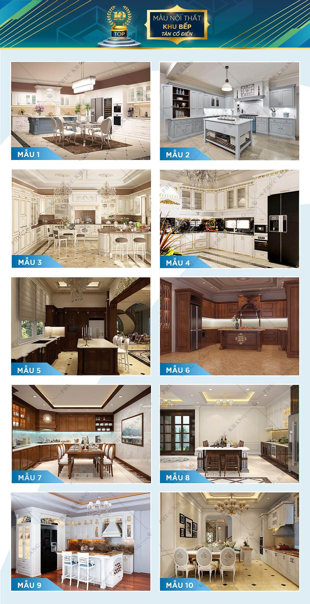 mẫu nội thất bếp tân cổ điển đẹp