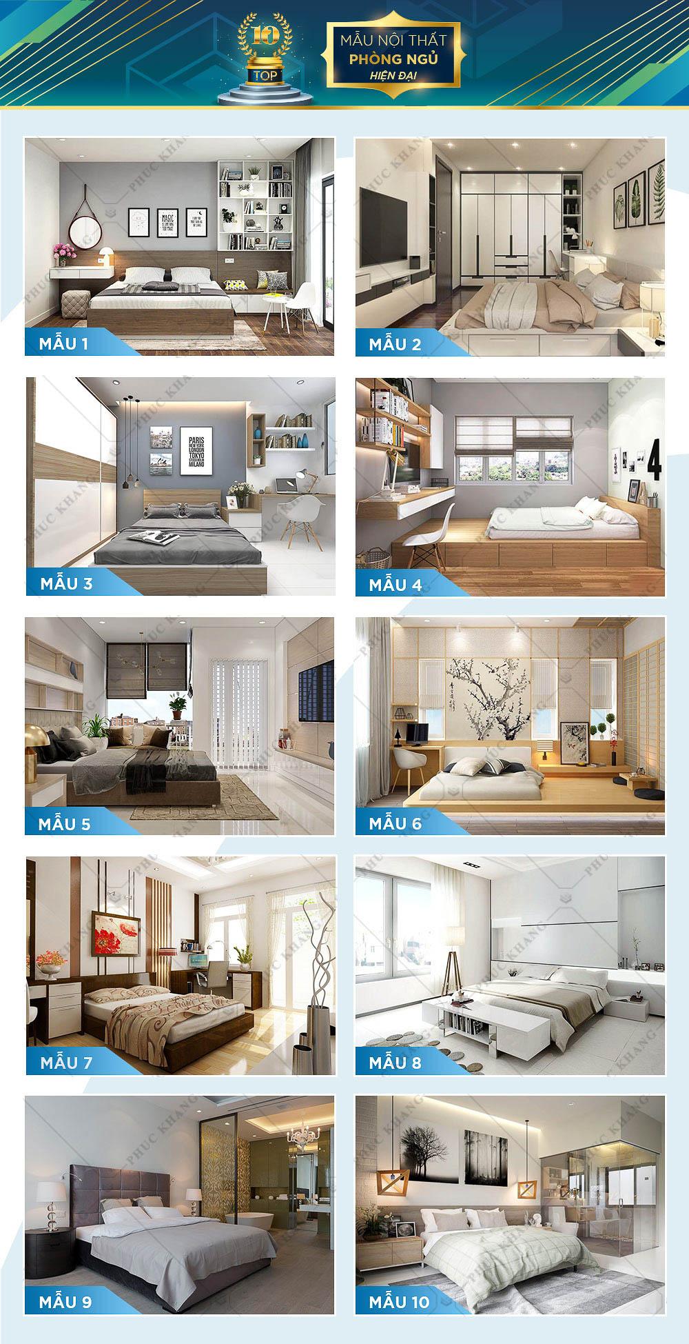 mẫu nội thất phòng ngủ hiện đại đẹp