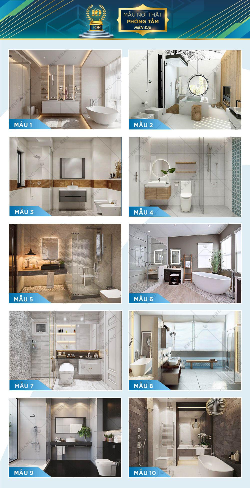 mẫu nội thất phòng tắm và nhà vệ sinh hiện đại đẹp