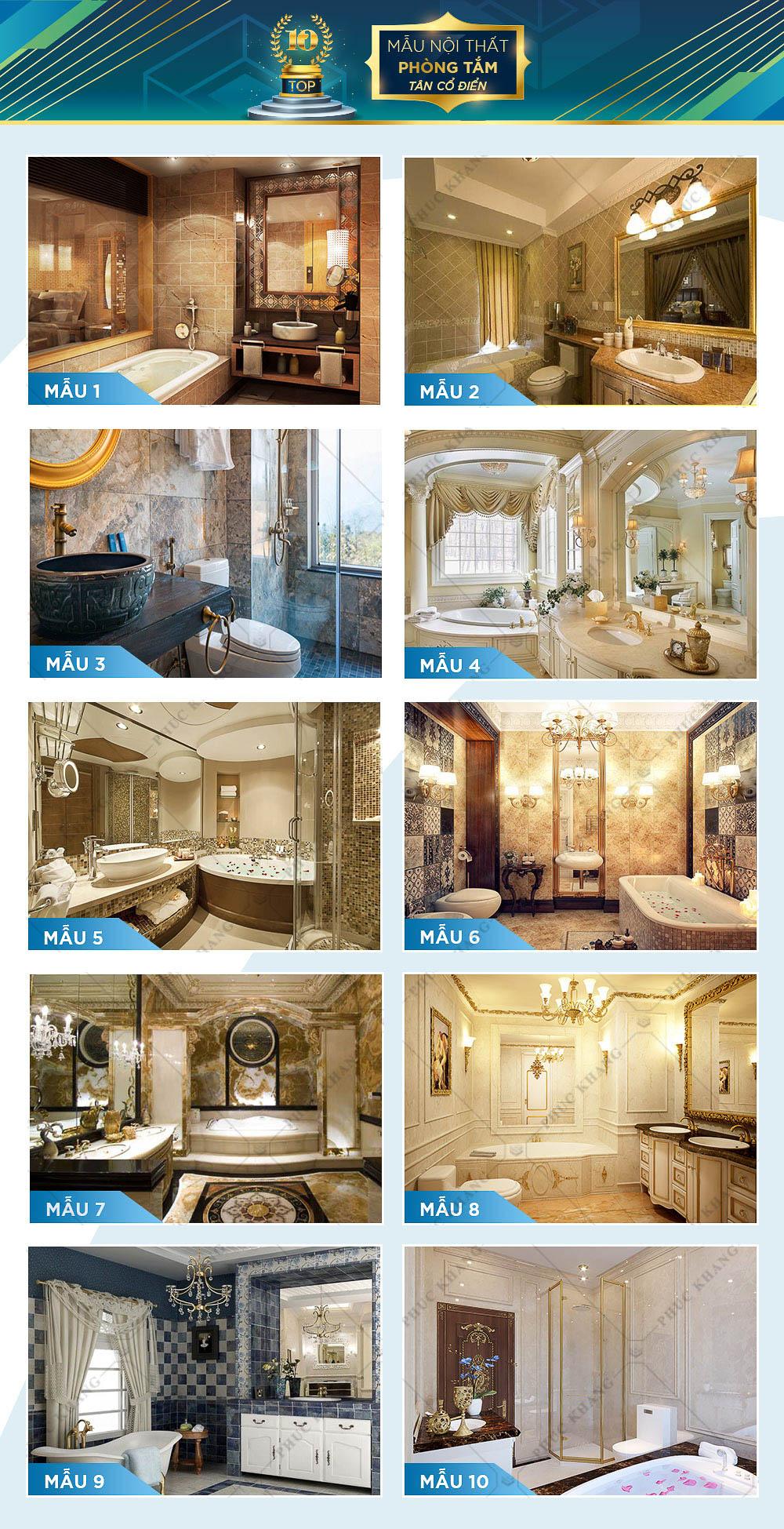 mẫu nội thất phòng tắm và nhà vệ sinh tân cổ điển đẹp