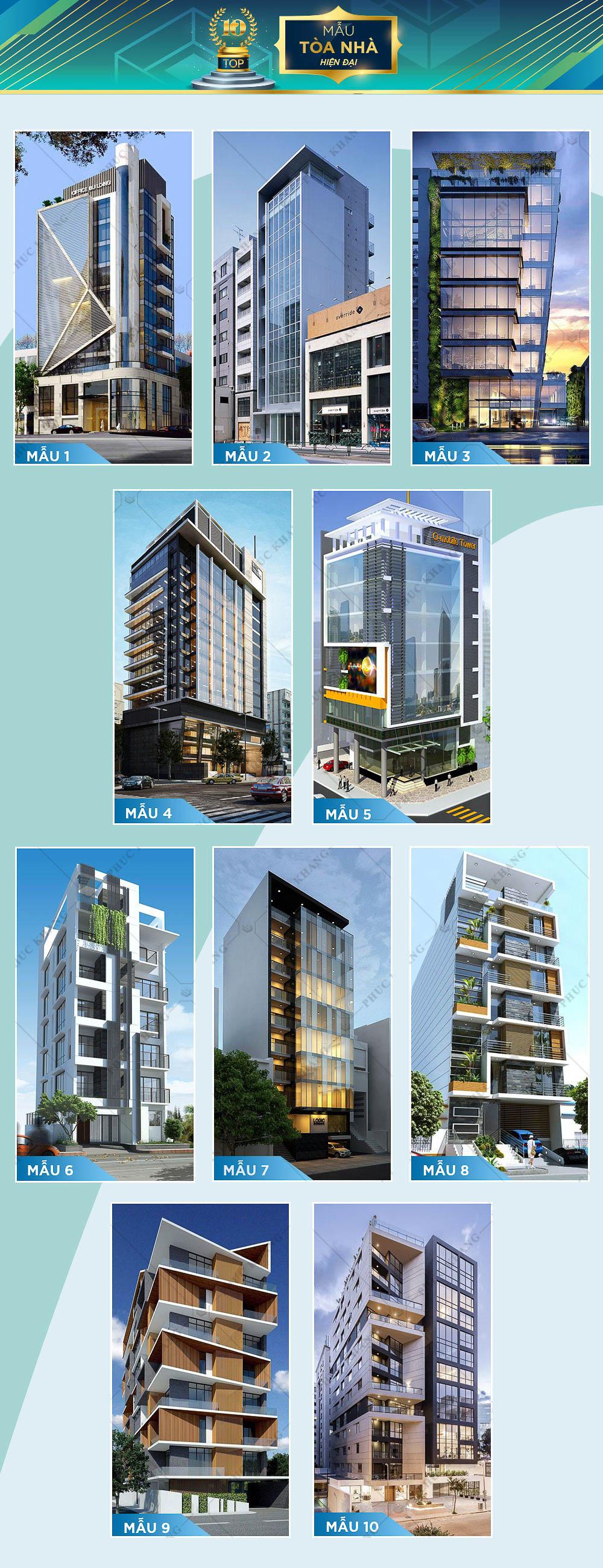 mẫu tòa nhà phong cách hiện đại đẹp