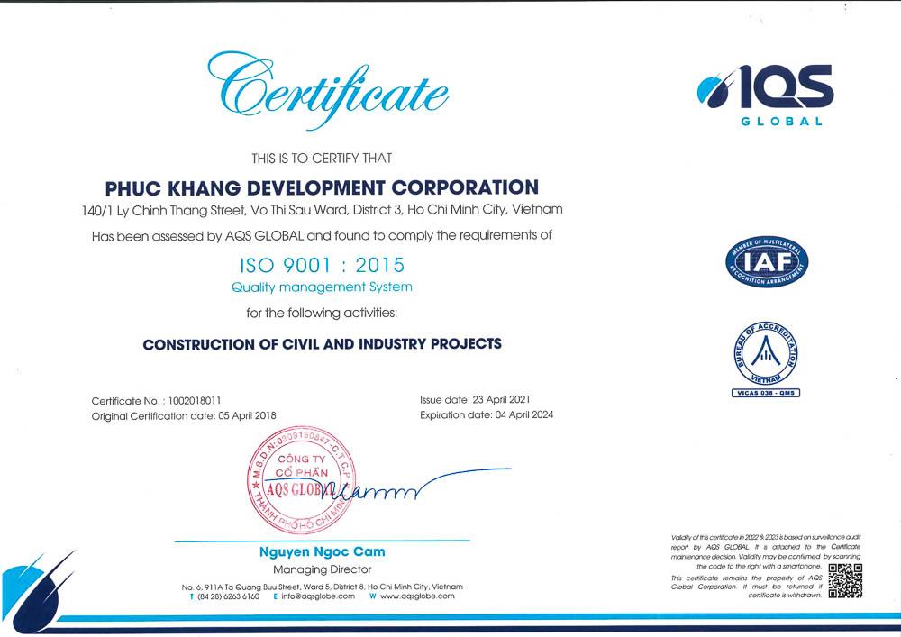 thông tin chứng nhận iso 9001:2015 EN của công ty xây dựng