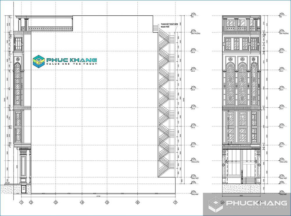 cách tính diện tích xây dựng khối nhà chính