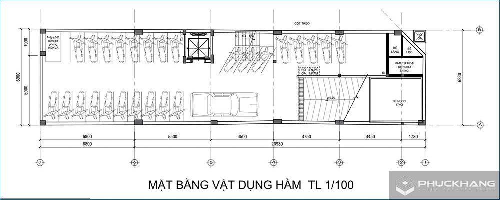 cách tính diện tích xây dựng tầng hầm