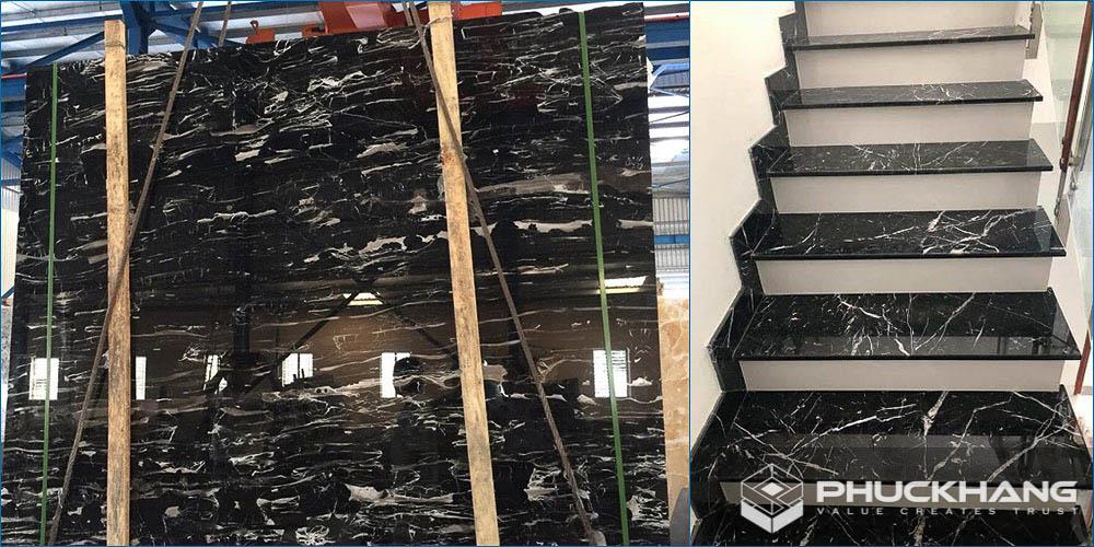 đá granite đen ốp cầu thang