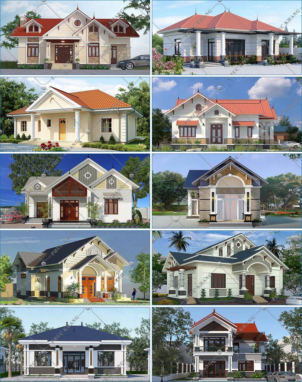 mẫu nhà mái ngói hiện đại